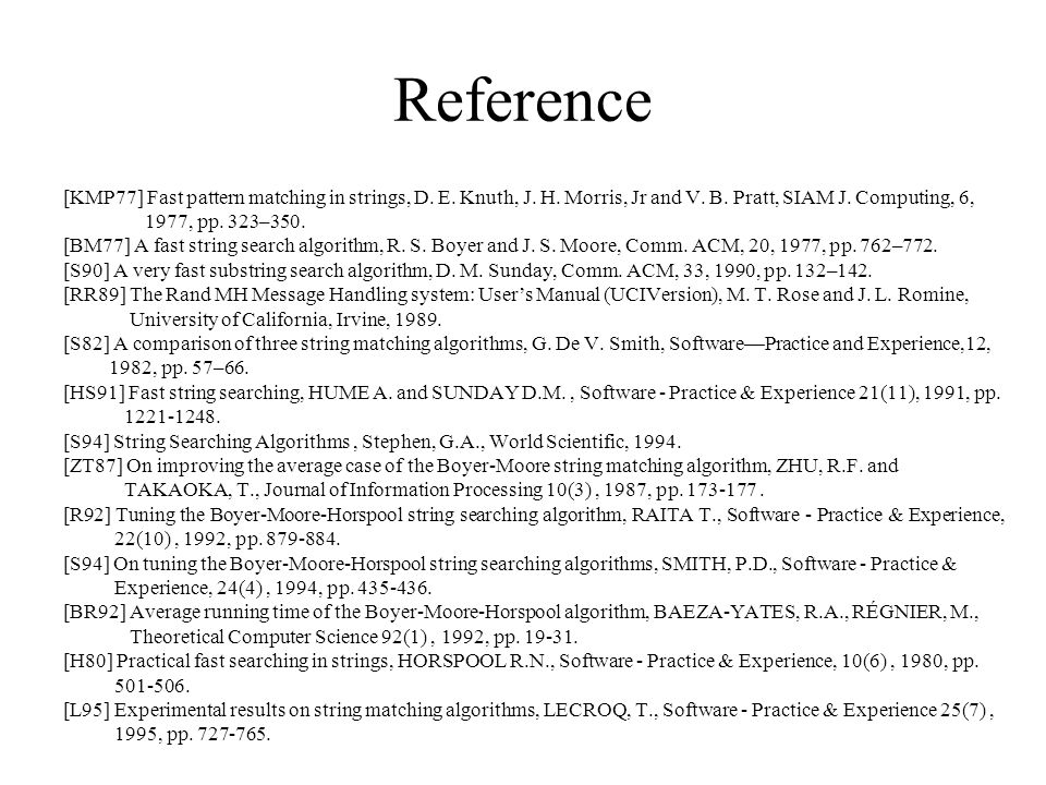 Reference [KMP77] Fast pattern matching in strings, D. E. Knuth, J. H. Morris, Jr and V. B. Pratt, SIAM J. Computing, 6,